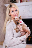 Woman with yorkshire terrier Stock Photo