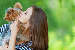 Woman with Yorkshire Terrier Royalty Free Stock Images