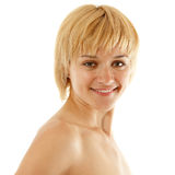 Woman young attractive cheerful on white royalty free stock photo