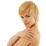 Woman young attractive cheerful  on white Stock Photo