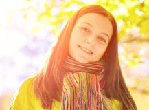 Young woman in the autumn park.  royalty free stock image