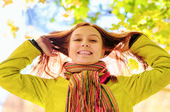 Young woman in the autumn park.  stock photo