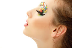 Woman young beautiful cheerful enjoying with make-up isolated on Royalty Free Stock Images