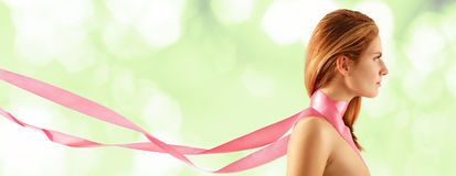 Woman young beautiful with pink ribbon Royalty Free Stock Photo