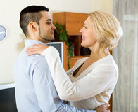 Woman and young boyfriend dancing Royalty Free Stock Photography