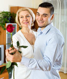 Woman and young boyfriend dancing Stock Images