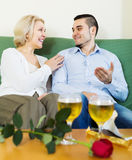 Woman with young boyfriend having date Stock Photo