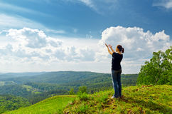 Young woman enjoying the fresh air Royalty Free Stock Image