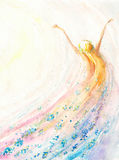 Woman. Young woman flying .Spring,nature,freedom concept.Picture created with watercolors Royalty Free Stock Images