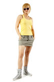 Woman young friendly full length on white stock photo