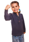 Woman young girl shows gesture success victory Royalty Free Stock Images