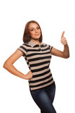 Woman young girl shows positive sign thumbs yes, Royalty Free Stock Photos