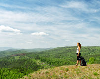 Young hiker on the hilltop Royalty Free Stock Photo