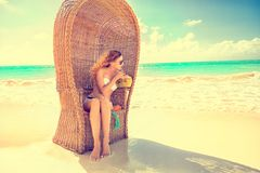 Woman young lady with sunglasses relaxing on the tropical beach Stock Images