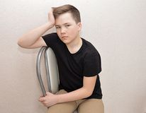 Woman, young, people, person, happy, fitness, gym, portrait, boy, smiling, car, exercise, home, child, beauty, sport, bike, exerci. Teen brooding young man royalty free stock photography