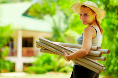 Young woman  planning  work at outdoor Royalty Free Stock Photos