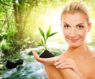 Woman with young plant Royalty Free Stock Image