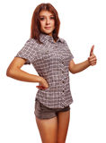 Woman young shows positive sign thumbs yes, shirt Royalty Free Stock Image