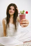 Woman and yummy smoothie stock images