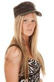 Woman zebra dress black hat side Stock Photos