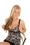 Woman zebra dress play straps Stock Image