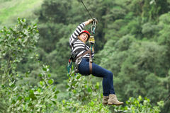 Woman On Zip Line Royalty Free Stock Image