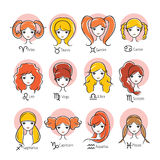 Woman With 12 Zodiac Signs Icons Set Royalty Free Stock Images