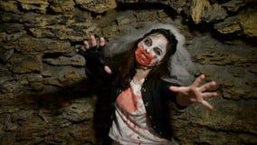 Woman zombie in castle stock footage
