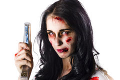 Zombie woman with stapler Royalty Free Stock Photos