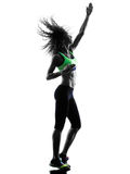 Woman zumba dancer dancing exercises silhouette Royalty Free Stock Photography