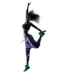 Woman zumba dancer dancing exercises silhouette Royalty Free Stock Photos