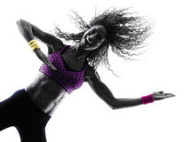 Woman zumba dancer dancing exercises silhouette Stock Photo