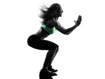 Woman zumba dancer dancing exercises silhouette Stock Image