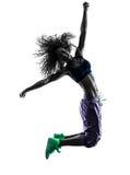 Woman zumba dancer dancing exercises silhouette Stock Photography
