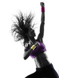 Woman zumba dancer dancing exercises silhouette Royalty Free Stock Images