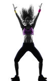 Woman zumba dancer dancing exercises silhouette Stock Images