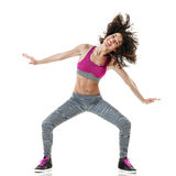 Woman zumba dancer dancing fitness exercises isolated Royalty Free Stock Photo