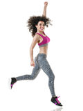 Woman zumba dancer dancing fitness exercises stock images