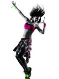 Woman zumba fitness exercises dancer dancing isolated silhouette Royalty Free Stock Photo