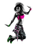 Woman zumba fitness exercises dancer dancing isolated silhouette Royalty Free Stock Photography