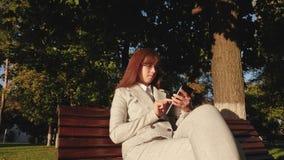 Womanbusinessman que veste vidros e terno claro trabalha com tabuleta e verifica o email no parque do verão no banco iluminado pe filme