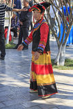 Womand dressed with traditional attire in Green Lake Park, Kunming Royalty Free Stock Images