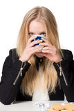 Womand drinking royalty free stock photos