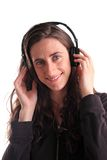 Womand and earphone on white Royalty Free Stock Photos