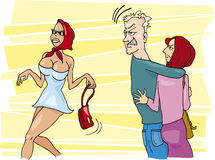 Womaniser and jealous woman. Cartoon illustration of man looking at sexy woman and jealous wife Stock Images