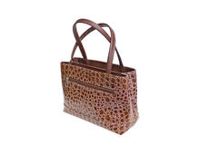 Womanish Brown Crocodile Leather Handbag. Stock Photos