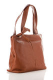 Womanish brown leather bag Royalty Free Stock Photos