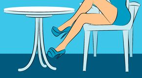 Womanish feet in shoes in restaurant. Stock Photography