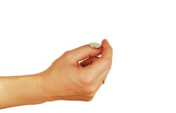 Womanish hand holds a coins Royalty Free Stock Photo