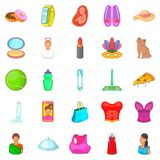 Womanish icons set, cartoon style Royalty Free Stock Photo